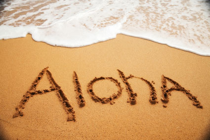 Aloha in sand Maui Visitors Guide MHA